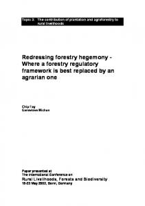 Redressing forestry hegemony - Where a forestry regulatory ...