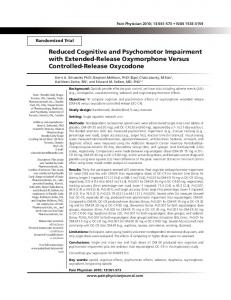 Reduced Cognitive and Psychomotor Impairment ... - Pain Physician