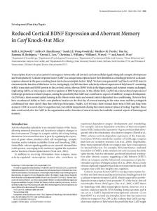 Reduced Cortical BDNF Expression and Aberrant ... - Semantic Scholar