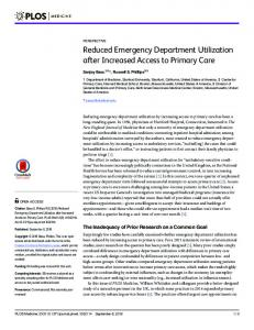 Reduced Emergency Department Utilization after Increased ... - PLOS