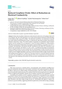 Reduced Graphene Oxide: Effect of Reduction on Electrical ... - MDPI