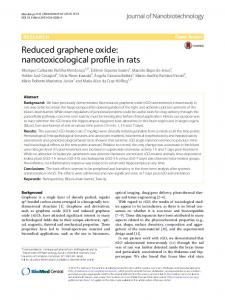 Reduced graphene oxide: nanotoxicological profile in rats
