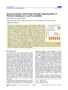 Reduced Graphene Oxide Paper Electrode - ACS Publications