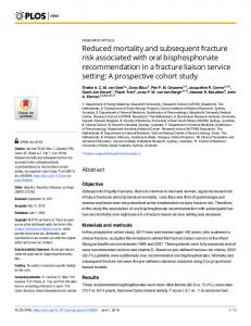 Reduced mortality and subsequent fracture risk associated ... - PLOS