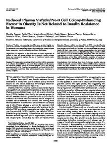 Reduced Plasma Visfatin/Pre-B Cell Colony-Enhancing Factor in ...