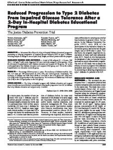 Reduced Progression to Type 2 Diabetes From ... - Diabetes Care