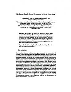 Reduced-Rank Local Distance Metric Learning - ECML/PKDD 2013
