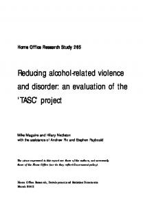Reducing alcohol-related violence and disorder - CiteSeerX
