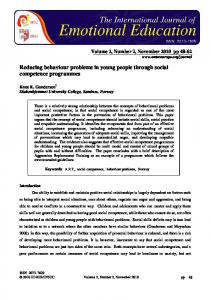 Reducing behaviour problems in young people through social - ensec