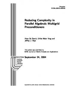 Reducing Complexity in Parallel Algebraic Multigrid ... - Computation