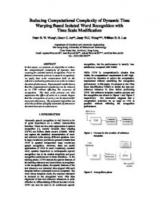 Reducing Computational Complexity of Dynamic Time ... - CiteSeerX