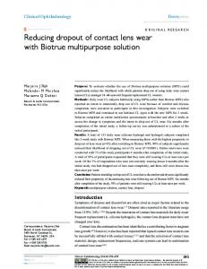 reducing dropout of contact lens wear with Biotrue ... - Semantic Scholar