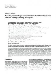 Reducing Haemorrhagic Transformation after Thrombolysis for Stroke ...