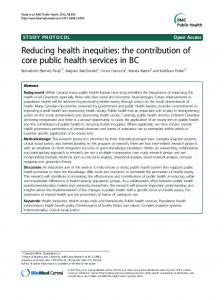 Reducing health inequities: the contribution of core ... - BioMed Central