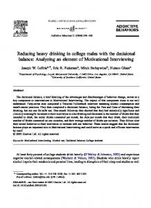 Reducing heavy drinking in college males with the decisional balance ...