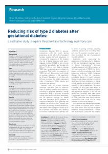 Reducing risk of type 2 diabetes after gestational diabetes: a ...