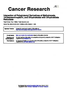 Reductase 10-Deazaaminopterin, and Dihydrofolate