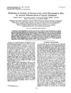 Reduction in Intensity of Pneumocystis carinii Pneumonia in ... - NCBI