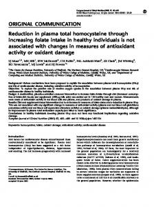Reduction in plasma total homocysteine through increasing folate