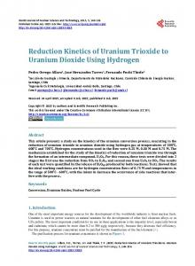 Reduction Kinetics of Uranium Trioxide to Uranium Dioxide Using ...
