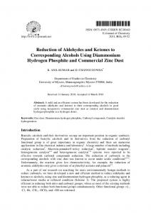 Reduction of Aldehydes and Ketones to Corresponding Alcohols ...