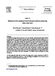 Reduction of CO2 emissions of coal fired power plants ... - ScienceDirect