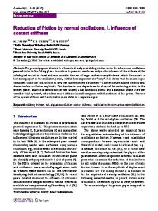 Reduction of friction by normal oscillations. I. Influence ... - Springer Link