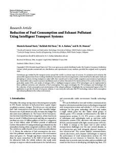 Reduction of Fuel Consumption and Exhaust Pollutant Using ...