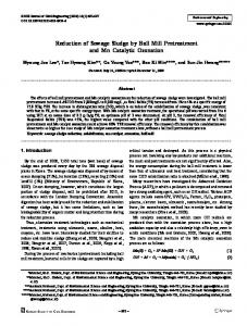 Reduction of Sewage Sludge by Ball Mill Pretreatment ... - Springer Link