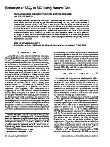 Reduction of SiO2 to SiC Using Natural Gas - Springer Link