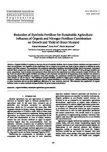 Reduction of Synthetic Fertilizer for Sustainable ...