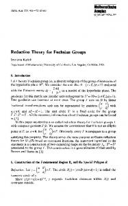 Reduction theory for Fuchsian groups - Department of Mathematics