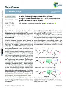 Reductive coupling of two aldehydes to ...