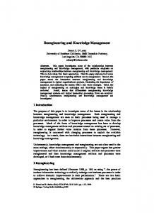 Reengineering and Knowledge Management
