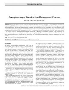Reengineering of Construction Management Process - CiteSeerX