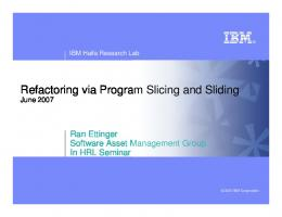 Refactoring via Program Slicing and Sliding - IBM Research
