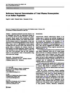 Reference Interval Determination of Total Plasma ...