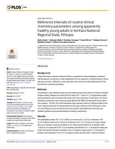 Reference intervals of routine clinical chemistry parameters ... - PLOS
