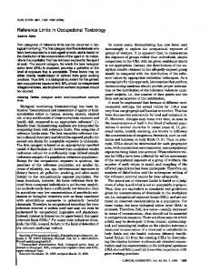 Reference Limits in Occupational Toxicology - Clinical Chemistry