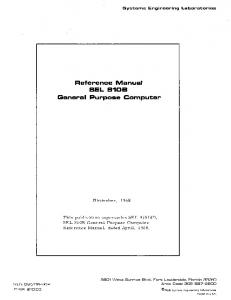 Reference Manual SEL 8105