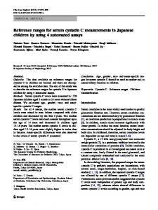 Reference ranges for serum cystatin C measurements in Japanese ...