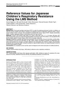 Reference Values for JapaneseChildren's RespiratoryResistance ...