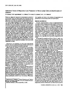 Reference Values of Magnesium and Potassium ... - Clinical Chemistry