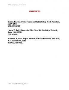 REFERENCES Gruber, Jonathan. Public Finance and Public Policy ...