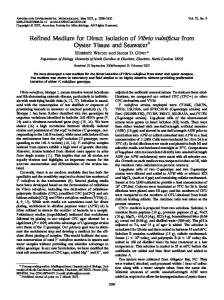 Refined Medium for Direct Isolation of Vibrio vulnificus from Oyster ...