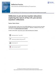 Reflection in pre-service teacher education: exploring
