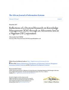 Reflections of a Doctoral Research on Knowledge