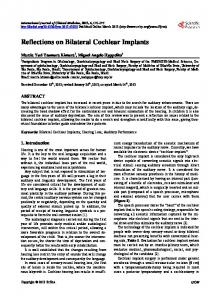 Reflections on Bilateral Cochlear Implants - Scientific Research
