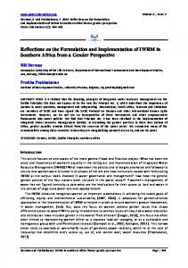 Reflections on the Formulation and ... - Water Alternatives