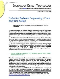 Reflective Software Engineering - From MOPS to AOSD